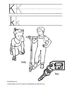 Letter Kk Trace and Color Worksheet