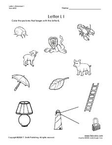 Letter Ll Pictures Worksheet
