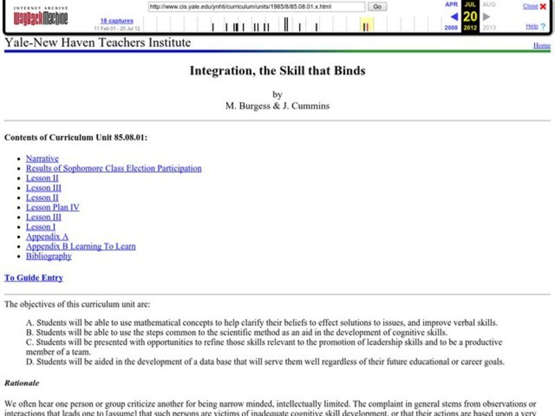 Integration, the Skill that Binds Lesson Plan