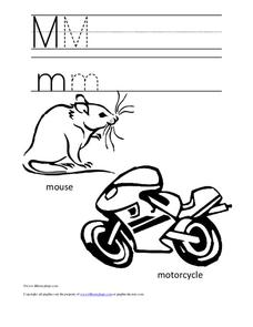 Letter Mm Trace and Color Worksheet