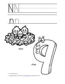 Letter Nn Trace and Color Worksheet