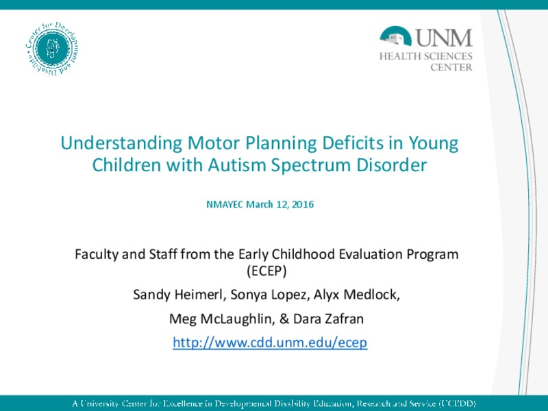 Understanding Motor Planning Deficits in Young Children with Autism Spectrum Disorder Presentation