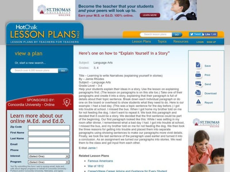Learning to write Narratives (explaining yourself in stories) Lesson Plan