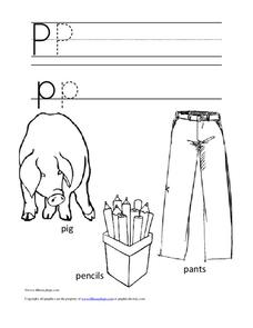 Letter Pp Trace and Color Worksheet