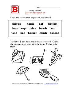 Letter Recognition: The Letter B Worksheet