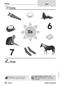 Letter S Words Worksheet