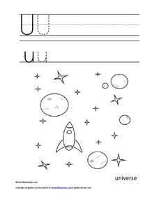 Letter Uu Trace and Color Worksheet