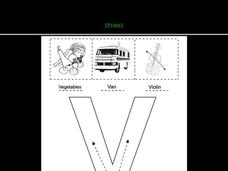 Letter Vv Words and Pictures Worksheet