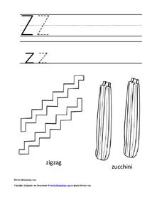 Letter Zz Color and Trace Worksheet