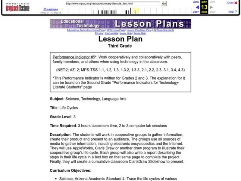 LIFE CYCLES Lesson Plan