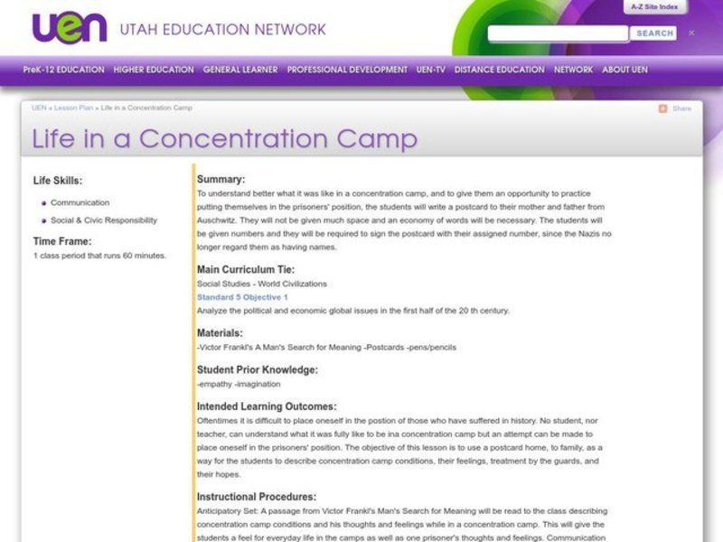 Life in a Concentration Camp Lesson Plan