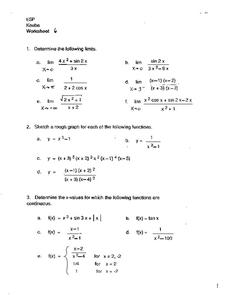 Limits and Functions Worksheet