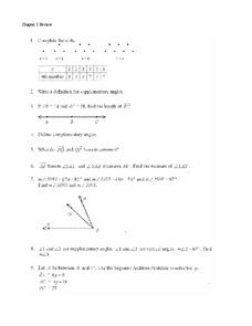 Line Segments and Angles Worksheet