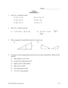 Linear Equations Worksheet