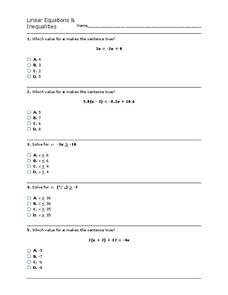 Linear Equations and Inequalities Worksheet