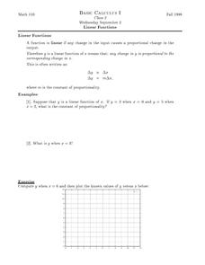 Linear Functions Worksheet