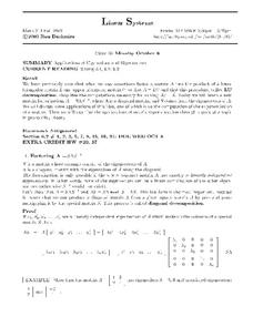 Linear Systems:  Applications of Eigenvalues and Eigenvectors Worksheet