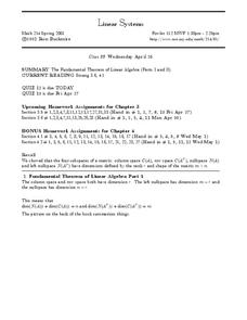 Linear Systems:  Fundamental Theorem Worksheet