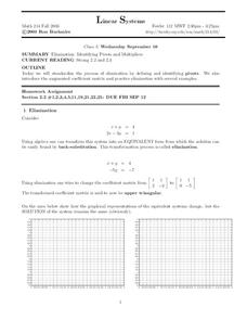 Linear Systems:  Identifying Pivots and Multipliers Worksheet
