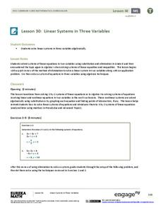 Linear Systems in Three Variables Lesson Plan