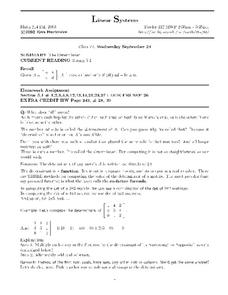 Linear Systems:  The Determinant Worksheet