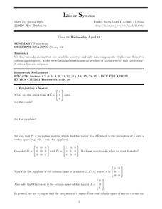 Linear Systems:  Projections Worksheet