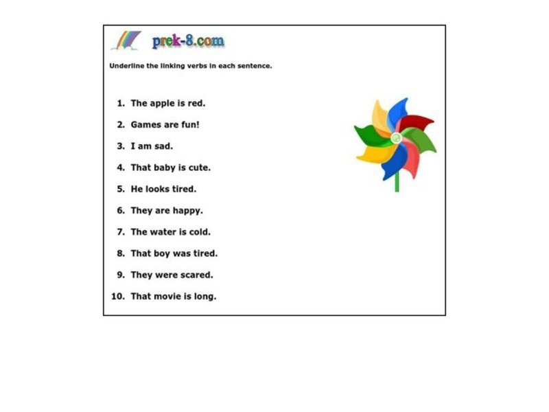 linking verbs worksheet for 3rd