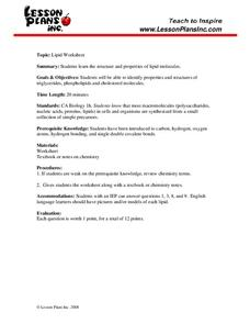 Lipid Worksheet Worksheet for 9th - 12th Grade | Lesson Planet