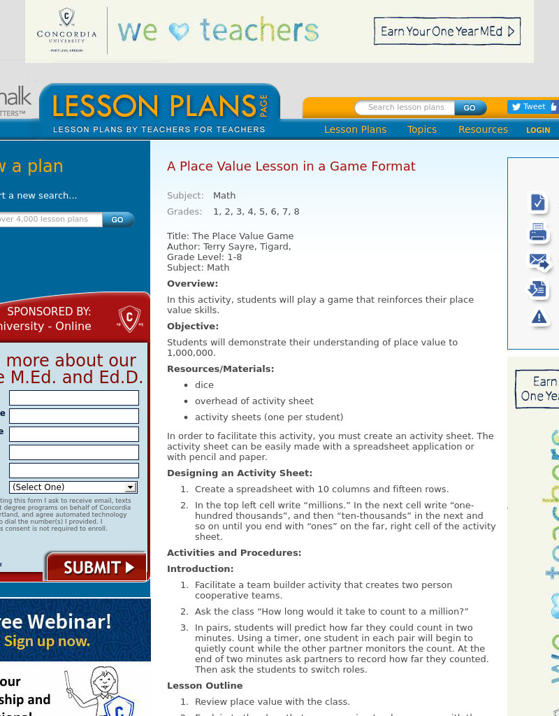 The Place Value Game Lesson Plan
