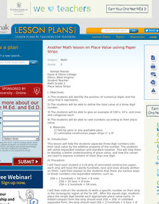 Place Value Strips Lesson Plan