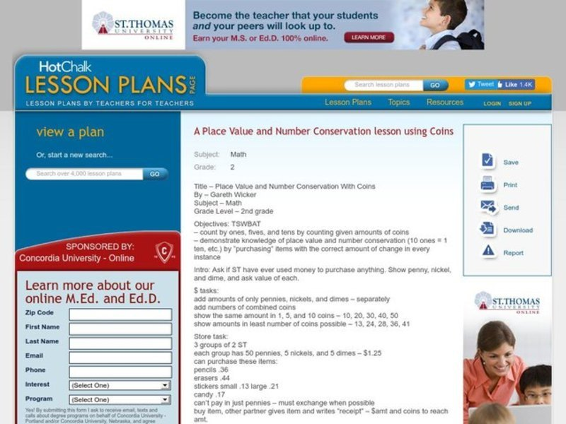 Place Value and Number Conservation With Coins Lesson Plan