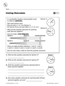 listing outcomes worksheet for 4th 7th grade lesson planet. Black Bedroom Furniture Sets. Home Design Ideas