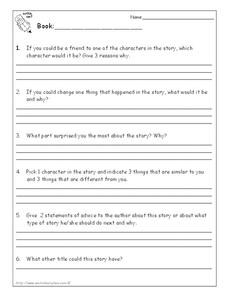 Literature Response Printables & Template