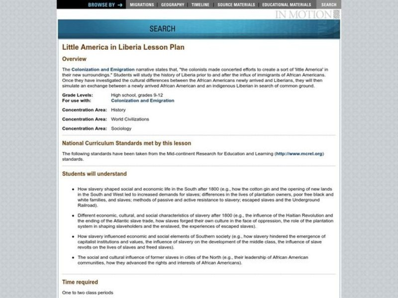 Little America in Liberia Lesson Plan