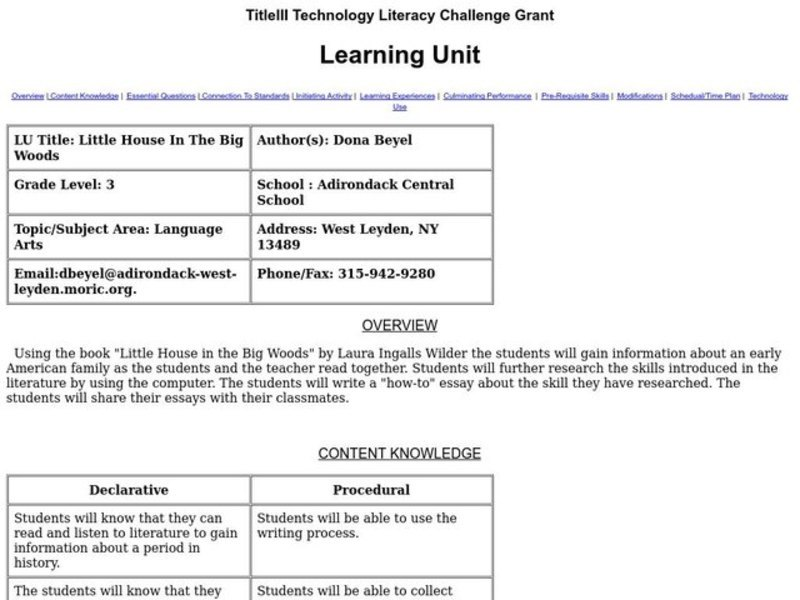 Little House In The Big Woods Lesson Plan