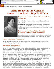 Little House in the Census: Almanzo and Laura Ingalls Wilder Lesson Plan