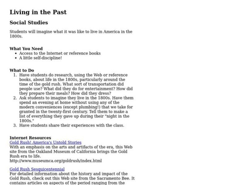 Living in the Past Lesson Plan
