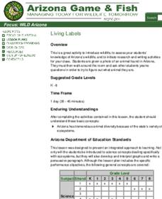Living Labels Lesson Plan