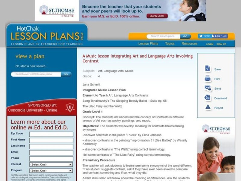 Integrated Music Lesson Plan Lesson Plan