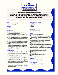 Living in Extreme Environments Lesson Plan