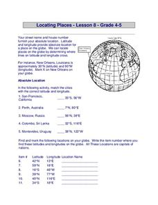 locating places worksheet for 4th 5th grade lesson planet. Black Bedroom Furniture Sets. Home Design Ideas