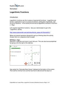 Logarithmic Functions Worksheet