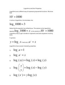 Logarithms and their Properties Worksheet