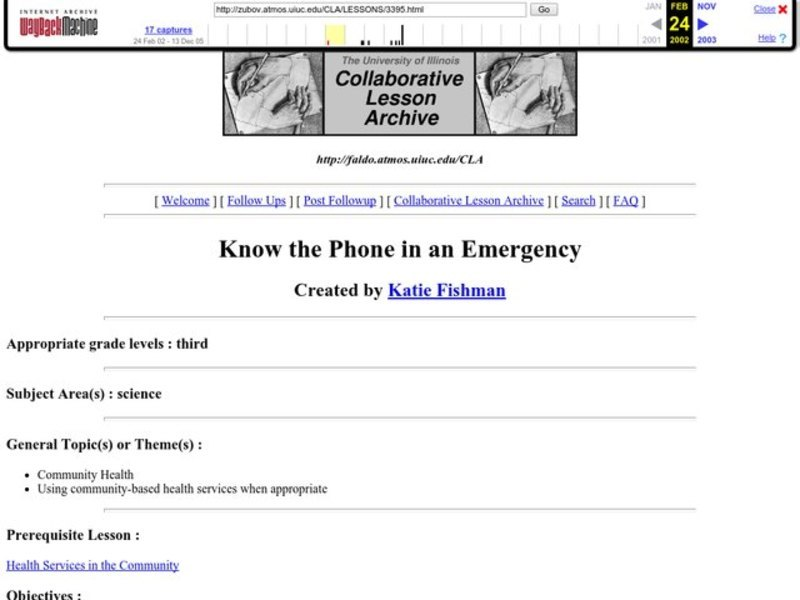 Know the Phone in an Emergency Lesson Plan