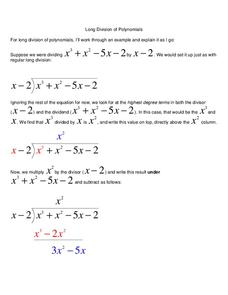 Long Division of Polynomials Worksheet