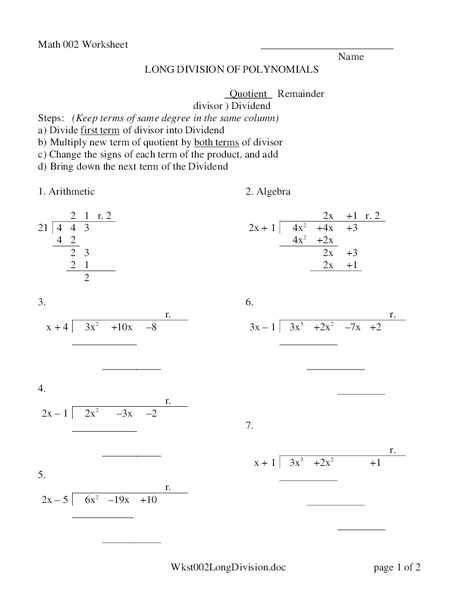 long division of polynomials worksheet for 9th 11th grade lesson planet. Black Bedroom Furniture Sets. Home Design Ideas