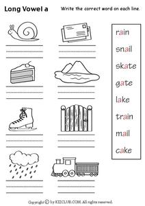 Long Vowel A Worksheet