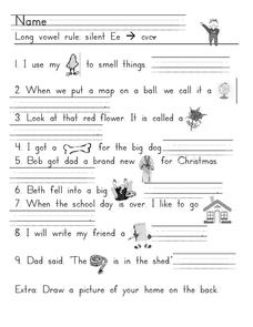 Long Vowel Rule: Silent Ee Worksheet