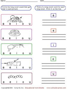 Long Vowels Worksheet