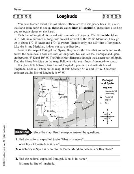 Longitude Worksheet For 4th 6th Grade Lesson Planet